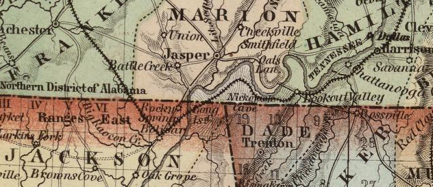 From an 1852 map of northern Alabama and Georgia and southern Tennessee. http://www.davidrumsey.com