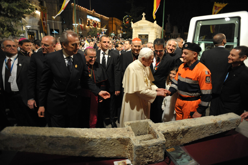 "Pope Benedict inspects the ""Benedict anchor"" in Malta"