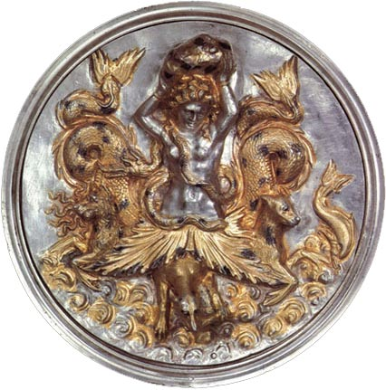 The Scylla Emblem, ancient silver piece from Morgantina, Sicily. See: http://uvamagazine.org/articles/plunder