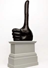 Really Good by David Shrigley, a giant thumbs-up that will grace the fourth plinth, Trafalgar Square. Photo J.O. Jenkins