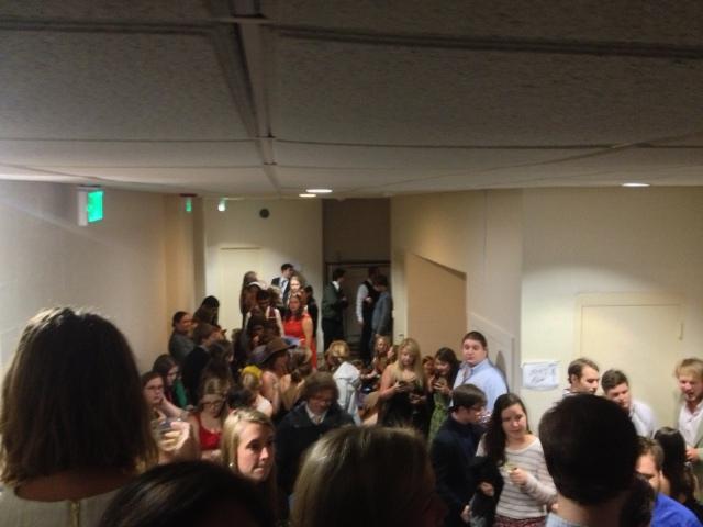 Sewanee seniors jammed into the basement of Cravens, April 14, 2014